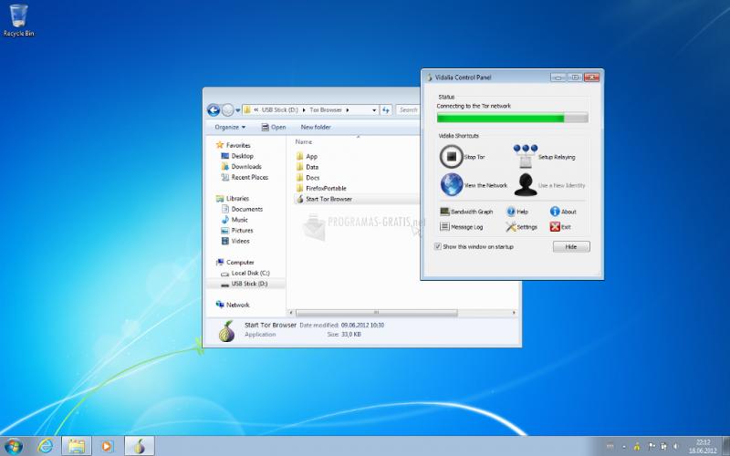 Pantallazo Tor Browser Bundle