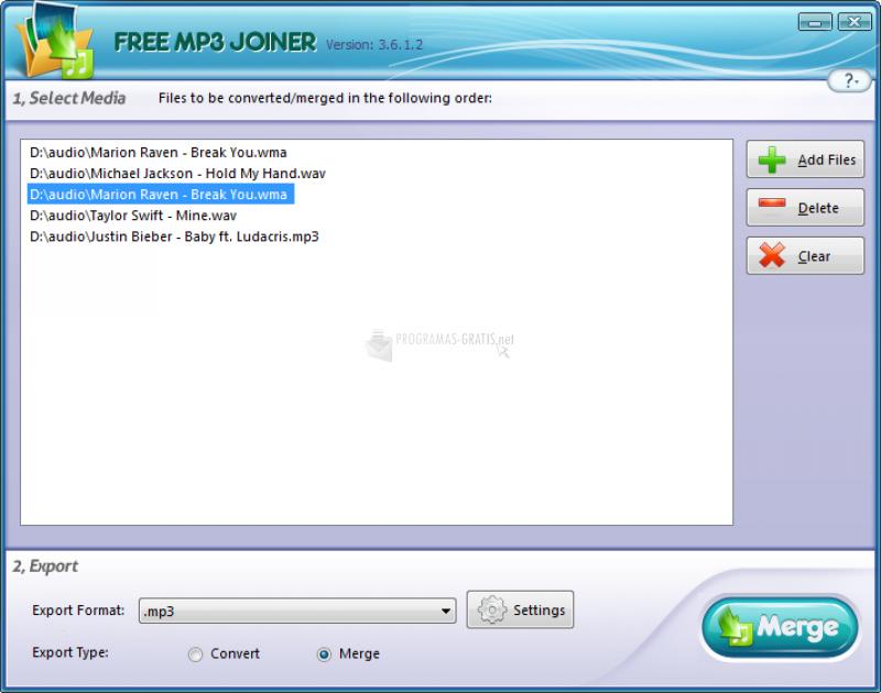 Pantallazo Free MP3 Joiner