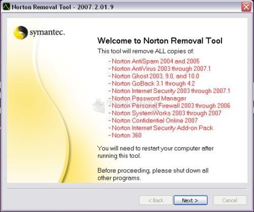 Pantallazo Norton Removal Tool
