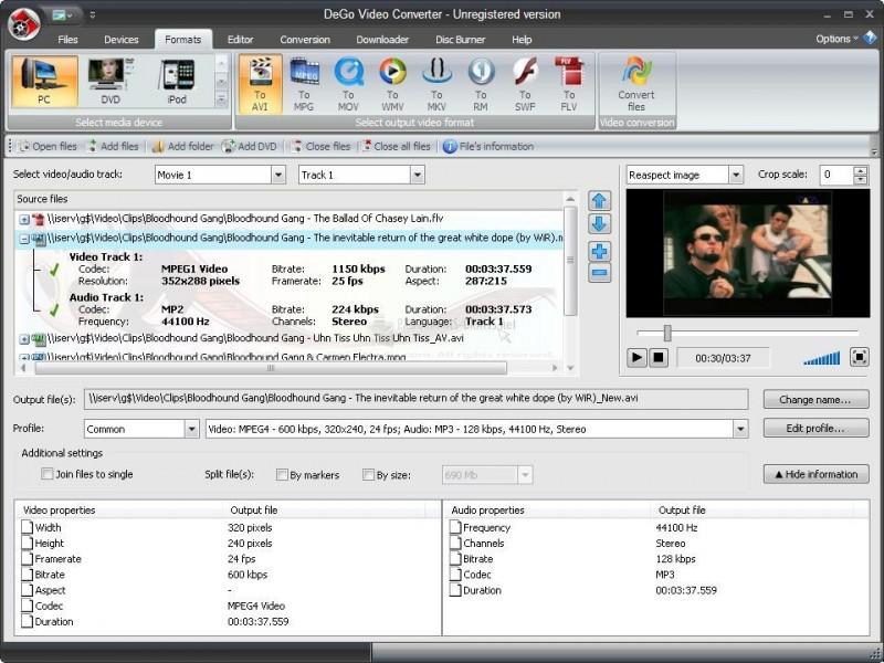 Pantallazo Dego Free Video Converter