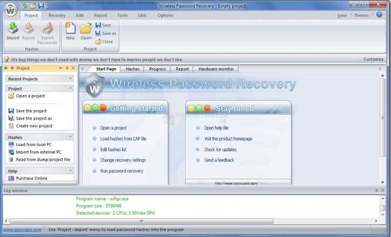 Pantallazo Wireless Password Recovery