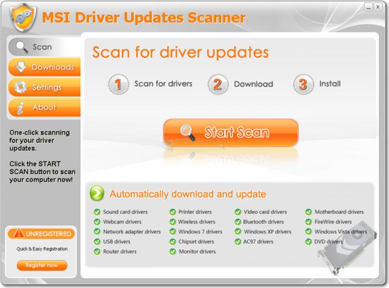 Pantallazo MSI Driver Updates Scanner