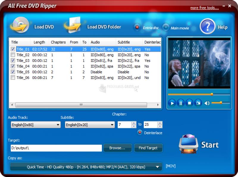 Pantallazo All Free DVD Ripper