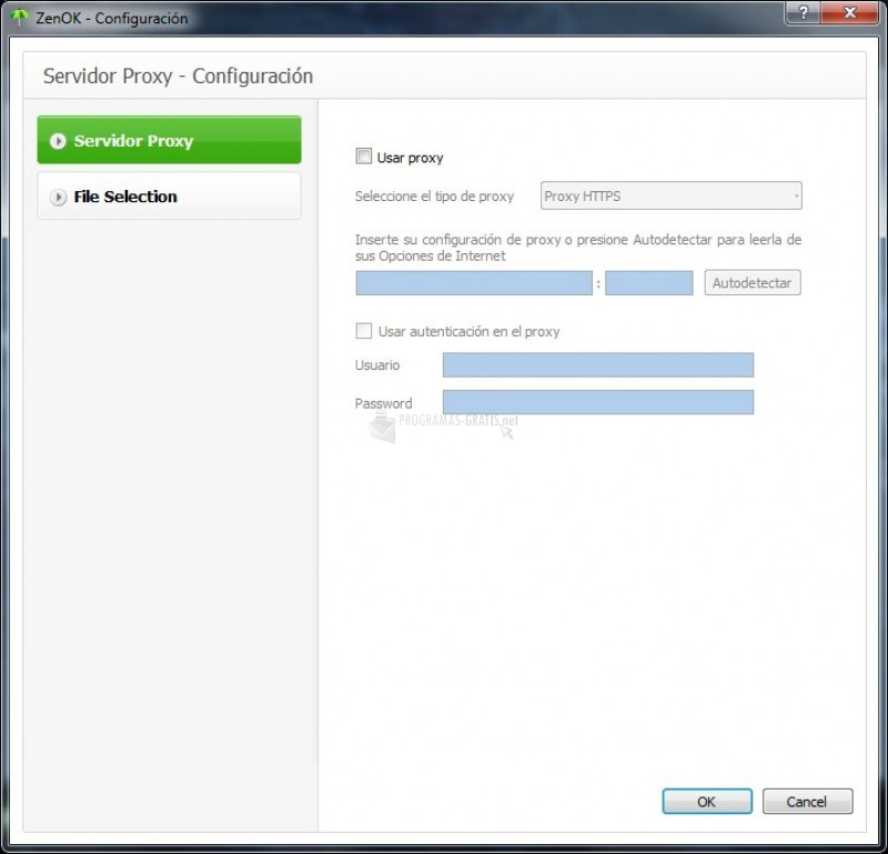 Pantallazo ZenOK Online Backup