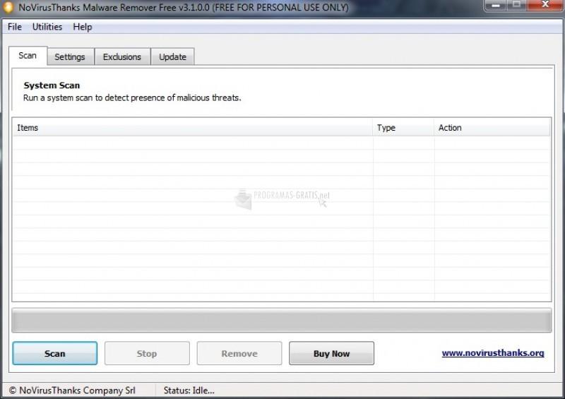 Pantallazo NoVirusThanks Malware Remover