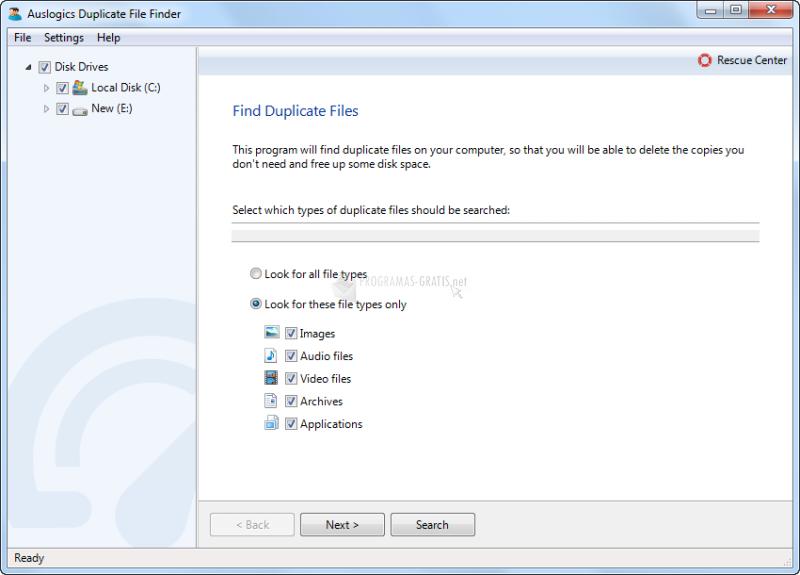 Pantallazo Auslogic Duplicate File Finder