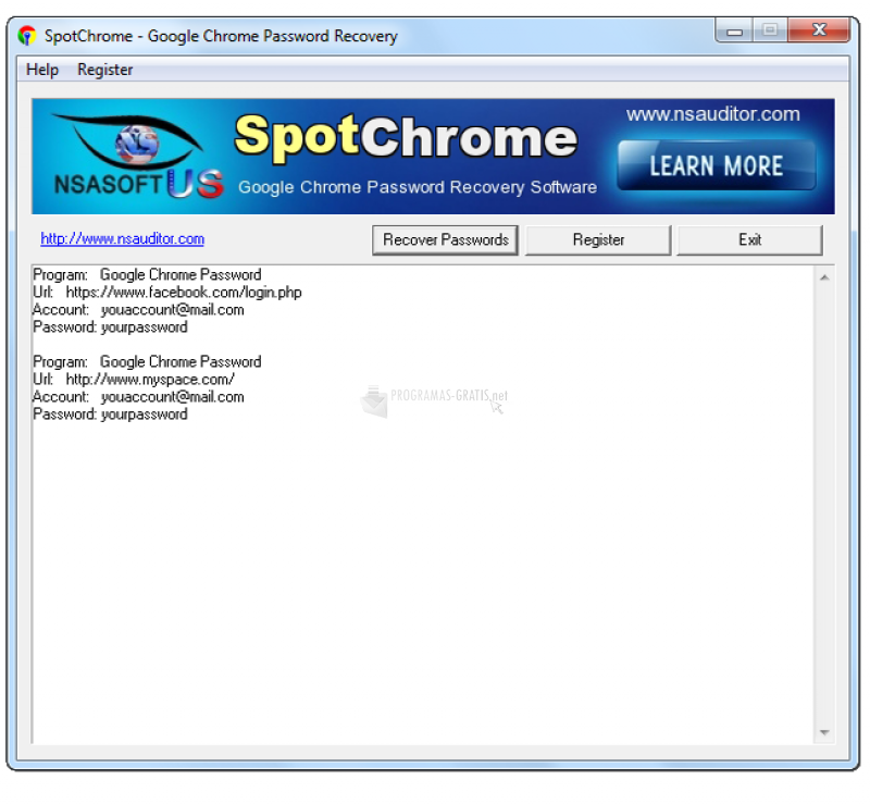 Pantallazo SpotChrome Password Recovery