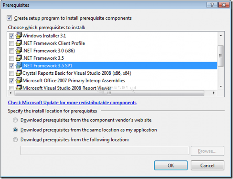 Pantallazo Microsoft .NET Framework Service Pack 1