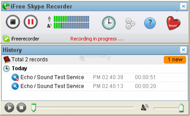 Pantallazo iFree Skype Recorder