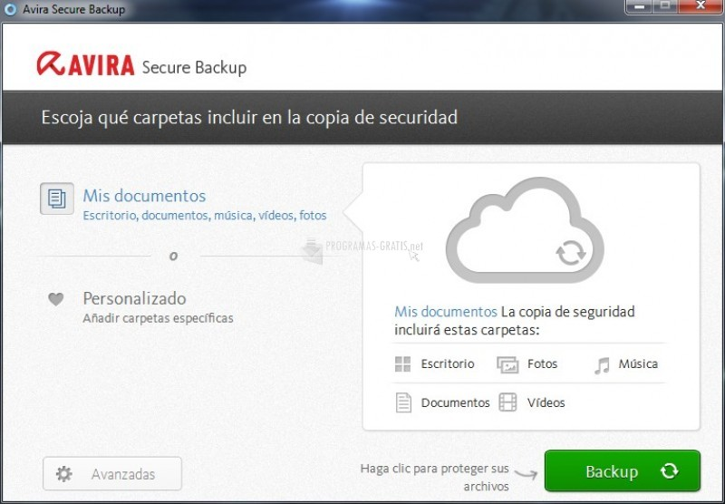 Pantallazo Avira Secure Backup