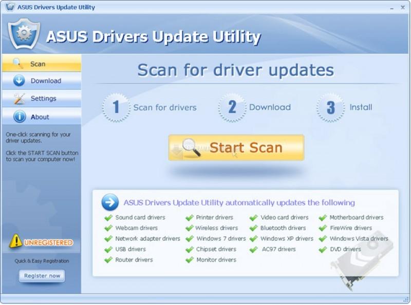 Pantallazo ASUS Drivers Update Utility