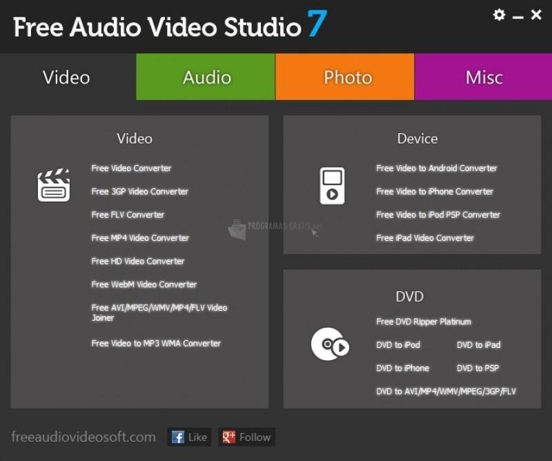 Pantallazo Free Audio Video Studio
