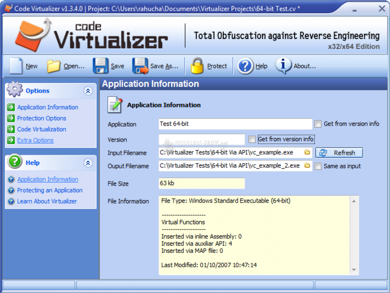 Pantallazo Code Virtualizer