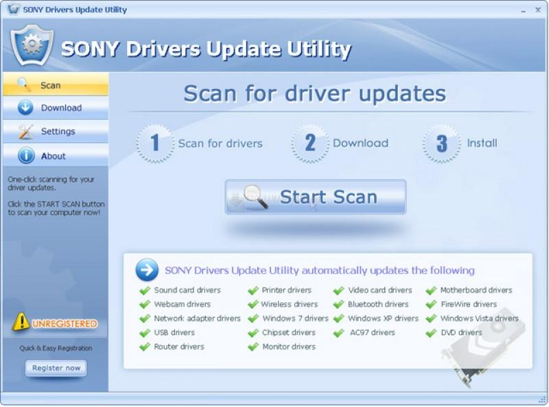 Pantallazo SONY Drivers Update Utility