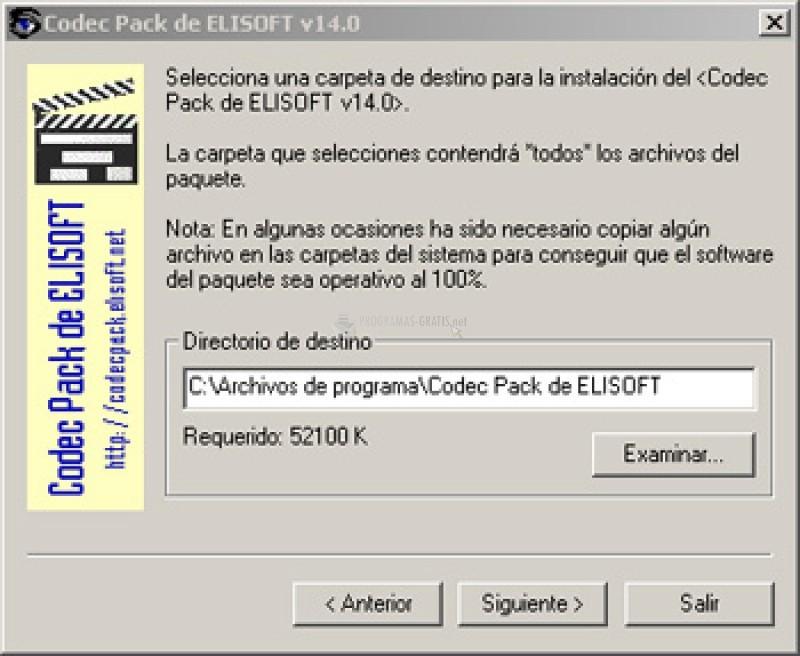 Pantallazo Codec Pack de ELISOFT