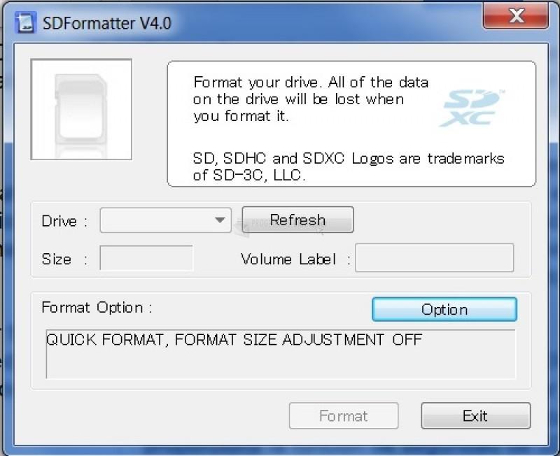 Pantallazo SD Formatter