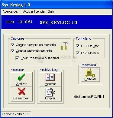 Pantallazo Sys Keylog