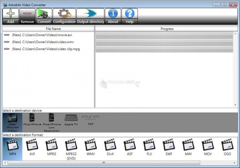 Pantallazo Astrabits Free Video Converter