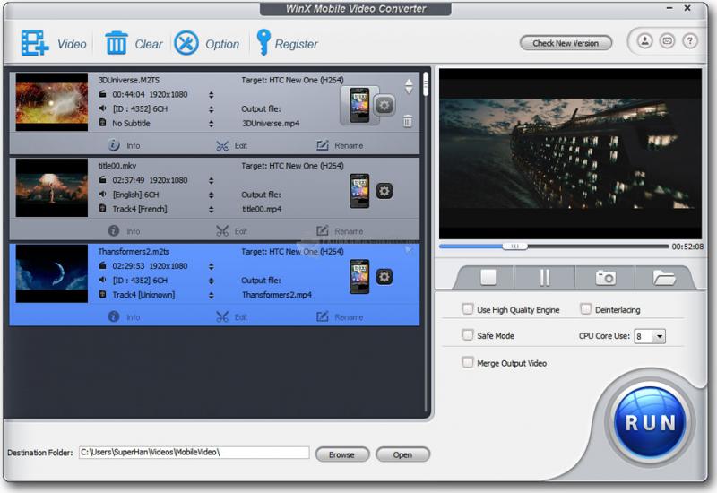 Pantallazo WinX Mobile Video Converter