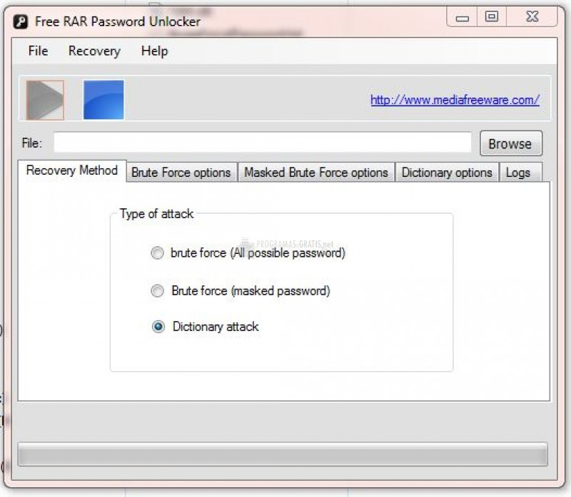 Pantallazo Free Rar Password Unlocker