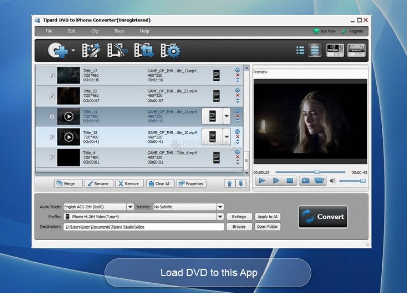 Pantallazo Tipard DVD To iPhone Converter