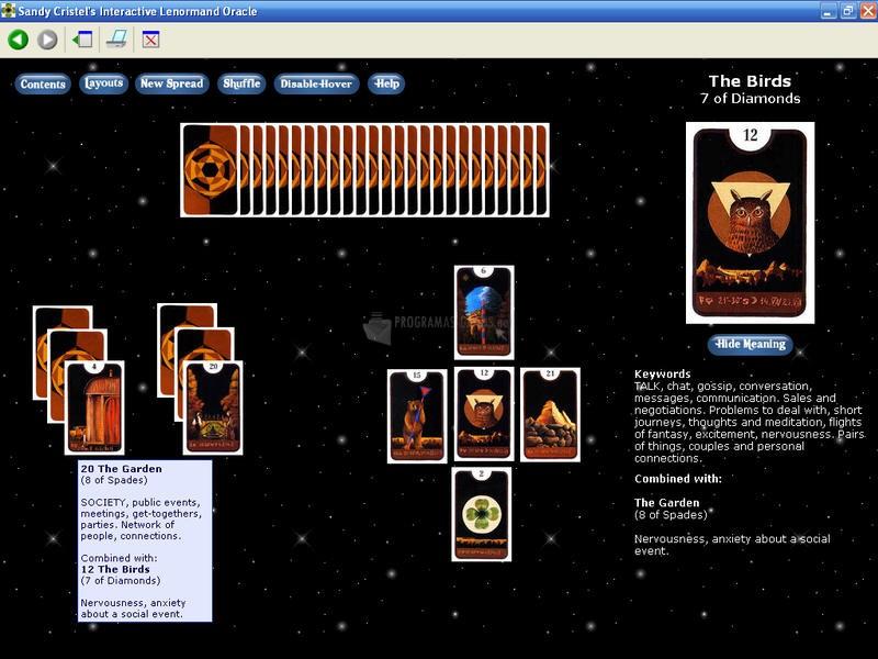 Pantallazo Sandy Cristel´s Interactive Lenormand Oracle