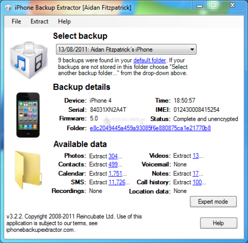 Pantallazo iPhone Backup Extractor