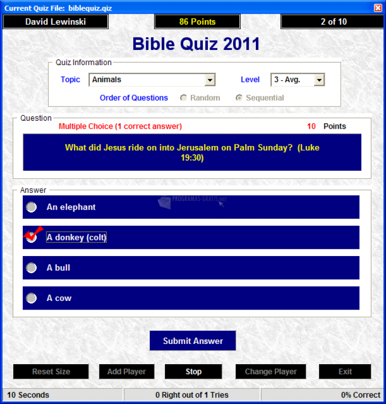 Pantallazo Bible Quiz 2011