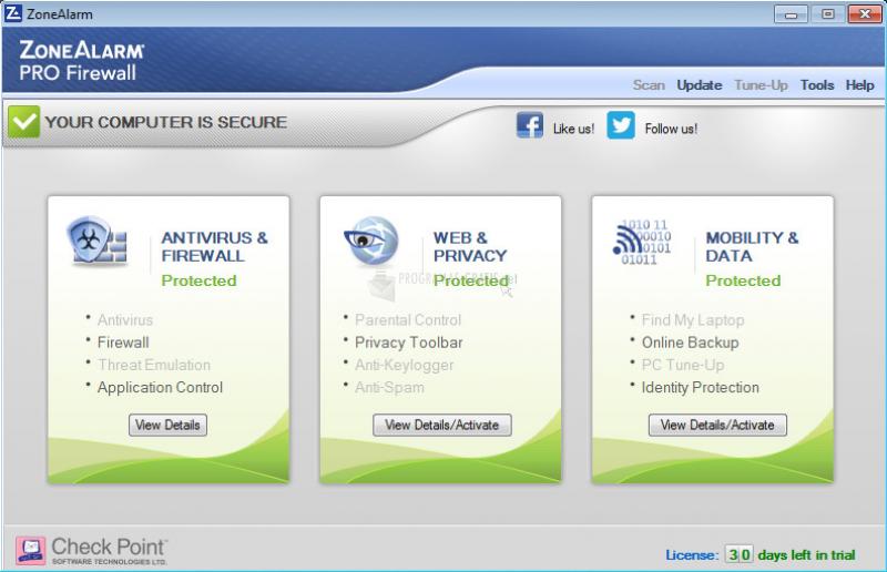 Pantallazo ZoneAlarm PRO Firewall