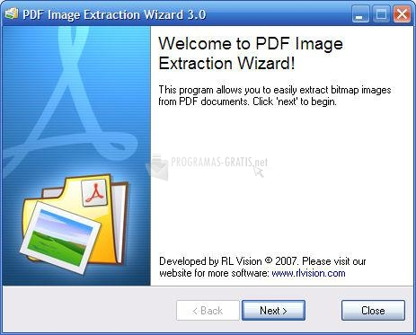 Pantallazo PDF Image Extraction Wizard