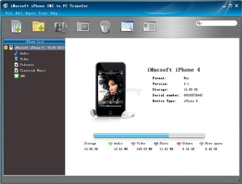Pantallazo iMacsoft iPhone SMS to PC Transfer