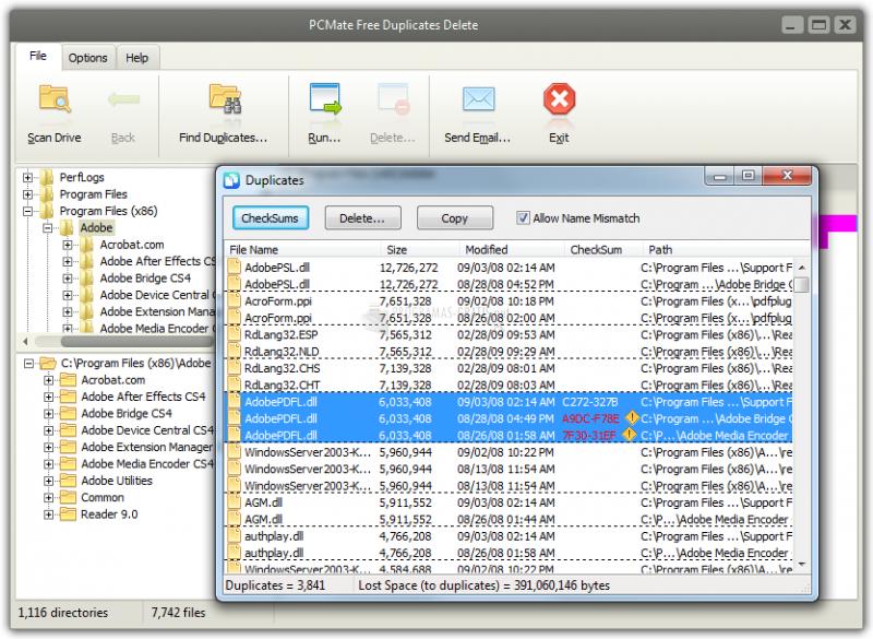 Pantallazo PCMate Free Duplicates Delete