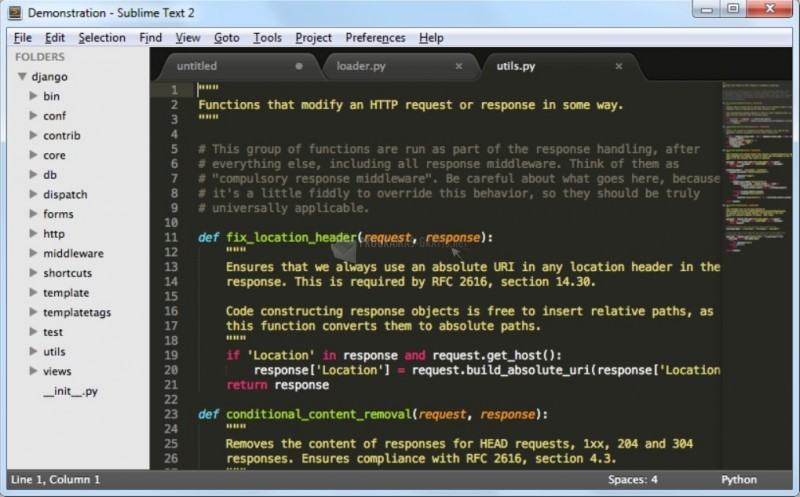 Pantallazo Sublime Text