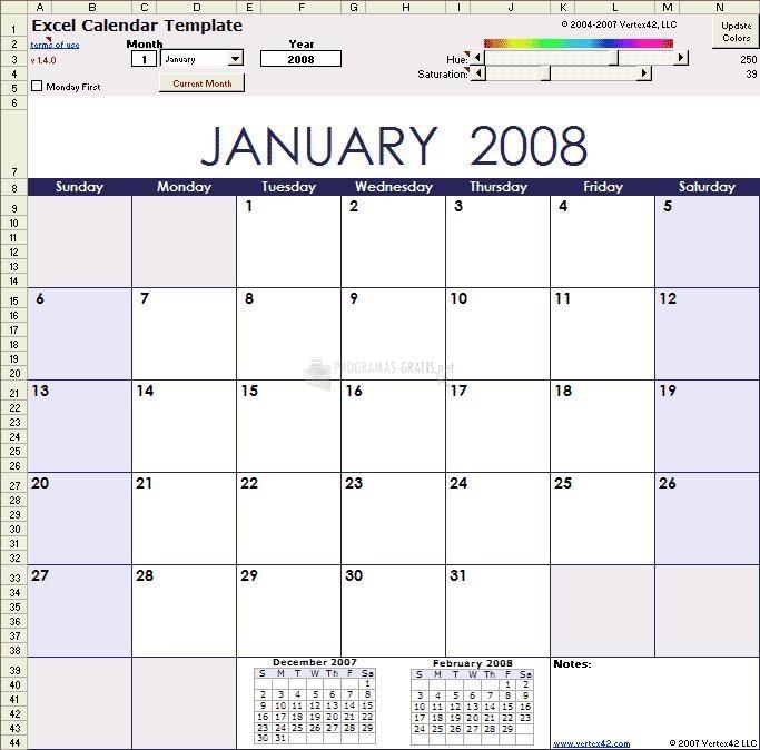 Pantallazo Excel Calendar Template