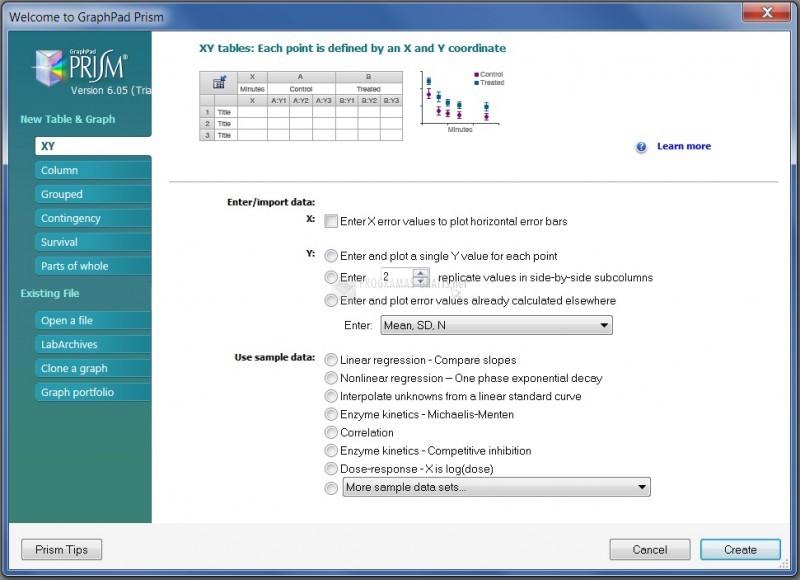 Pantallazo GraphPad Prism