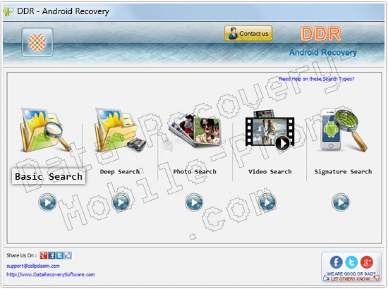 Pantallazo Data Recovery for Android