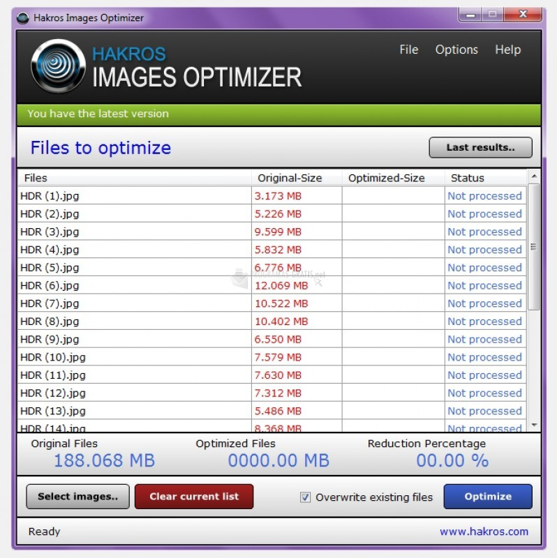Pantallazo Hakros Images Optimizer