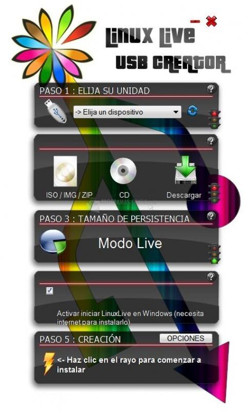 Pantallazo Linux Live USB Creator