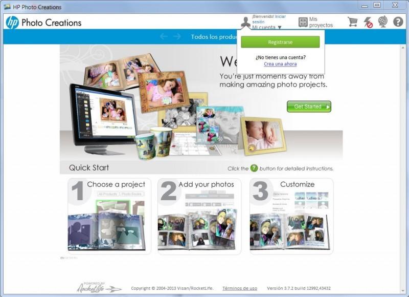 Pantallazo HP Photo Creations
