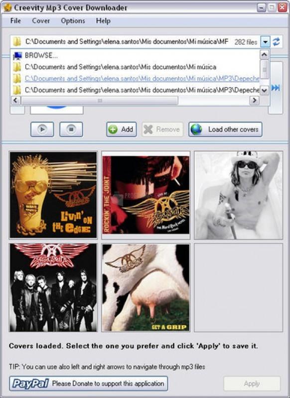 Pantallazo Creevity MP3 Cover Downloader