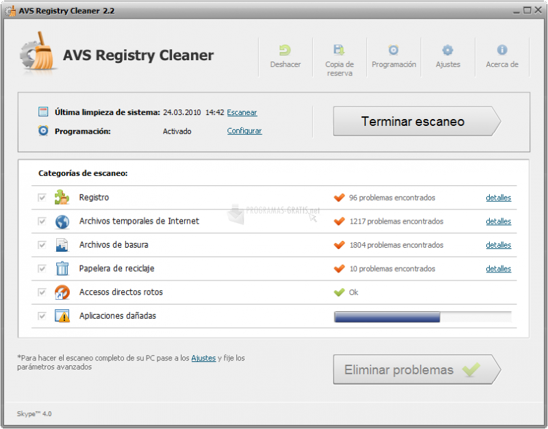 Pantallazo AVS Registry Cleaner