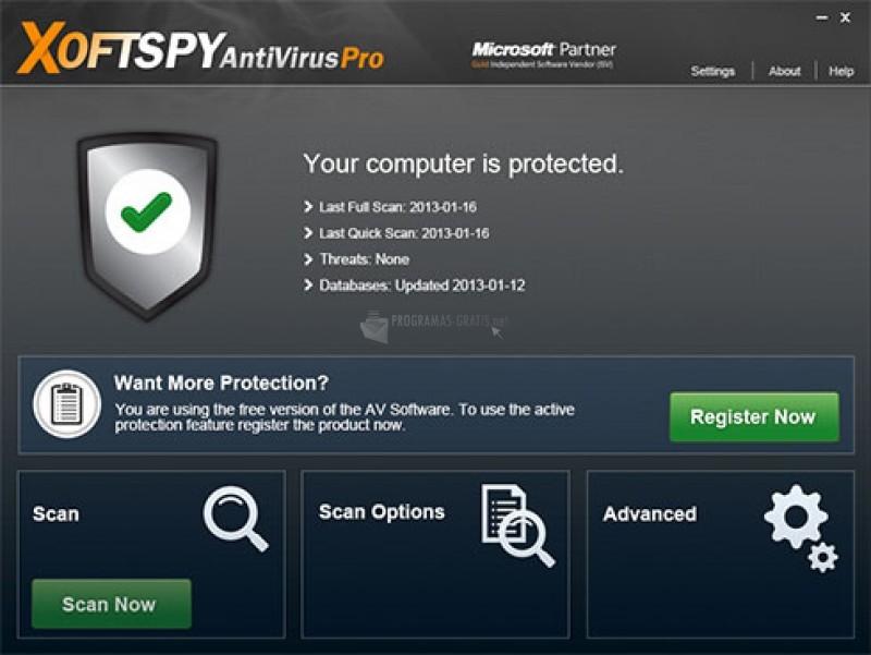 Pantallazo XoftSpy AntiVirus Pro