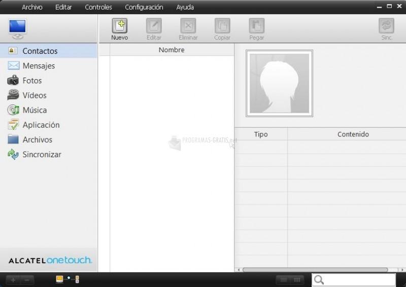 Pantallazo Alcatel PC Suite