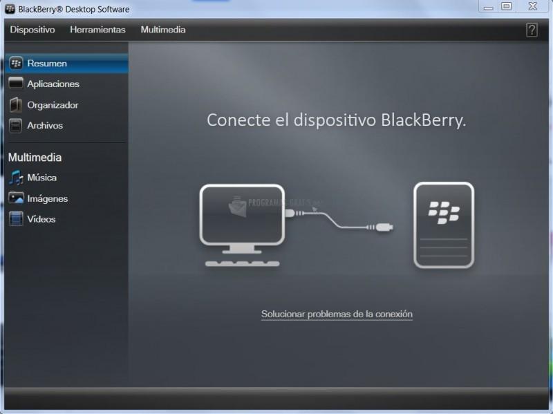 Pantallazo BlackBerry Desktop Software
