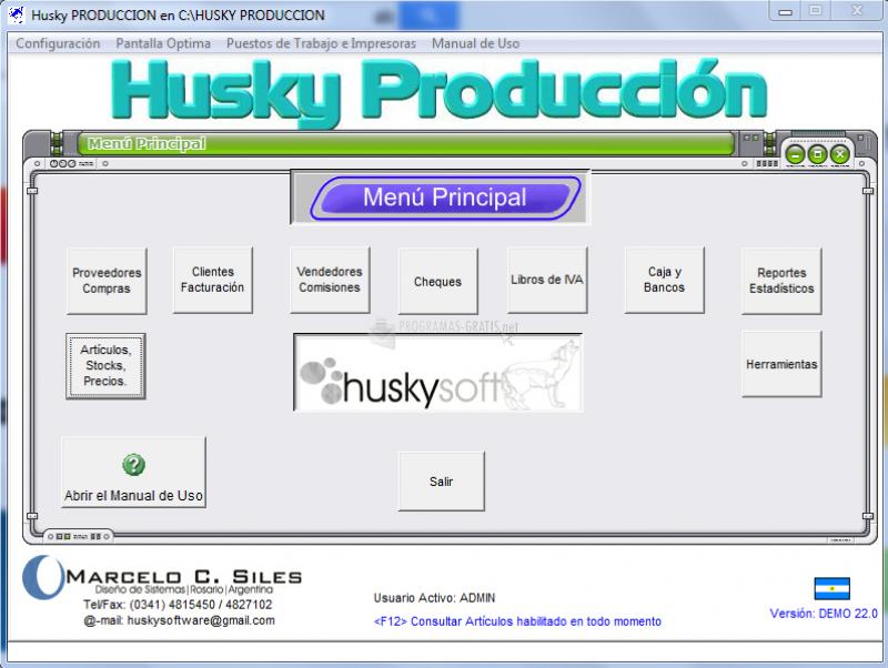 Pantallazo Husky Producción