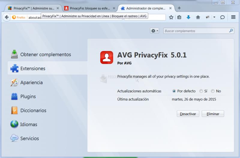 Pantallazo AVG PrivacyFix Firefox