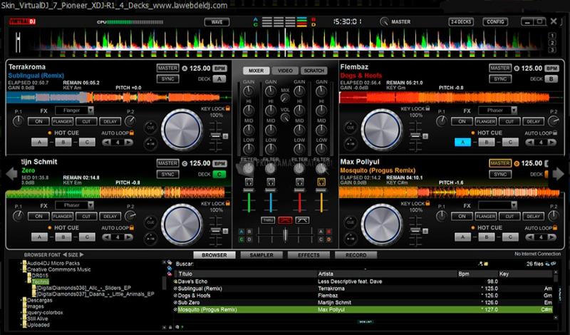 Pantallazo Skin Virtual DJ Pioneer XDJ-R1