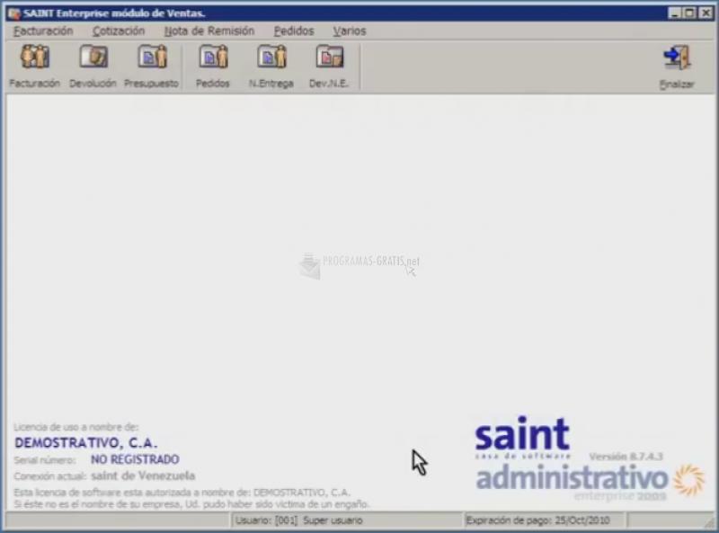 Pantallazo Saint Enterprise Administrativo