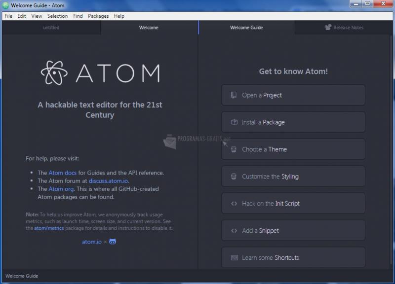 Pantallazo Atom