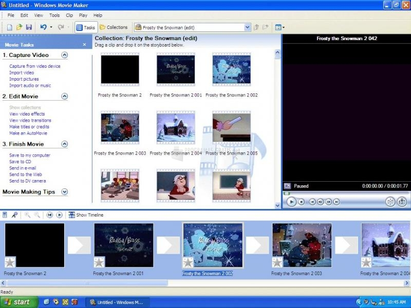 Pantallazo Windows Movie Maker (XP)